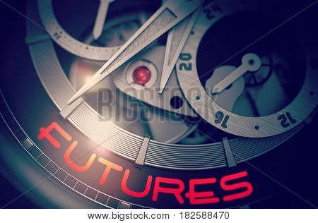 Futures on Automatic Wristwatch, Chronograph Close Up. Time Concept with Glow Effect and Lens Flare. 3D Rendering.