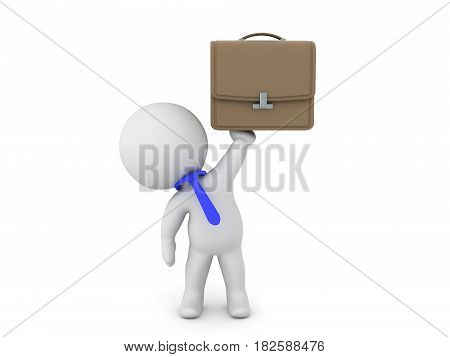 3D Character as white collar worker holding up a briefcase. Typical white collar worker.