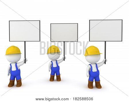 3D Illustration of worker strike. The workers are wearing hard hats over alls and are holding signs.