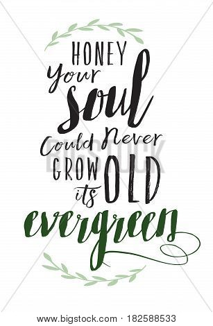 Honey Your Soul could never grow old its Evergreen Calligraphy Vector Typography Design Sheeran Music Lyrics poster with green laurel accents