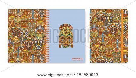 Cover design for notebooks or scrapbooks with ethnic masks. Vector illustration.