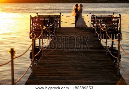 Bride's Veil Covers Groom's Hand While They Stand On A Wooden Bridge Over The Sea