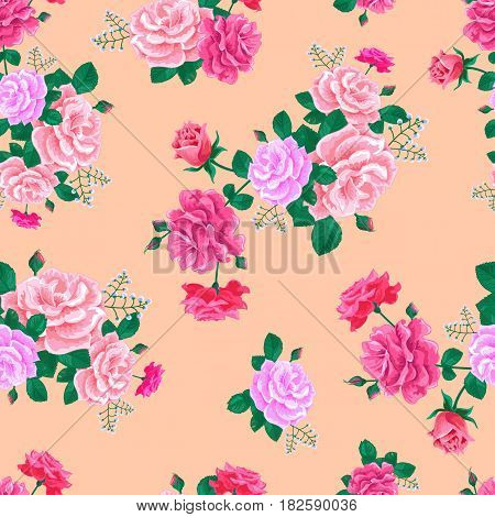 Seamless pattern with large realistic pink roses on a light background.Magnificent bouquet.Vector illustration.Summer floral vector illustration for prints, book covers, textile, fabric, wrapping paper