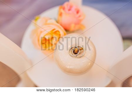 Wedding rings of a newly-married couple on a cushion for rings. Engagement gold rings. Wedding in Montenegro.