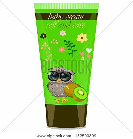 High quality original trendy vector kiwi Baby cream tube with kids design and owl on floral background illustration