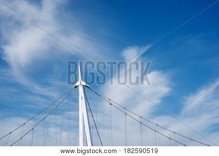 Detail of a suspension bridge, named Pasarela de Delicias, Zaragoza, Aragon, Spain.