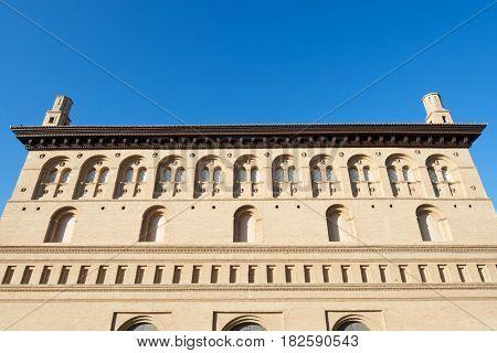exterior view of the Lonja Palace, Zaragoza, Aragon, Spain.