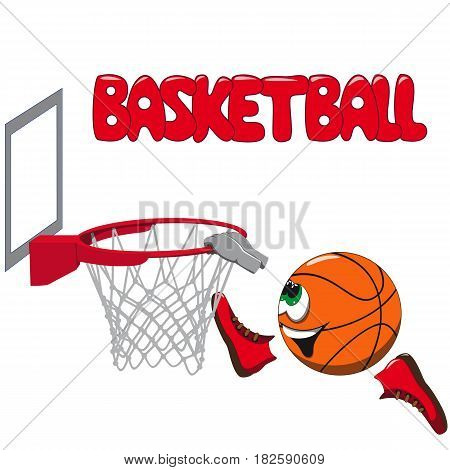 Basketball ball smiling jumping and pulling in a basketball basket and above on a white background inscription of a basketball