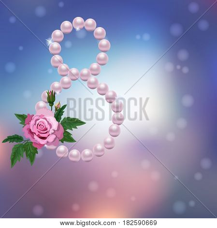 Very high quality original trendy vector illustration of 8 March International Women Day Greeting Card With pearl and rose on colorful background