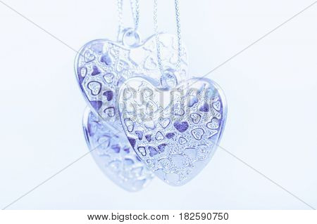 Three blue Hearts on white background selective focused. Valentine. love heart beauty