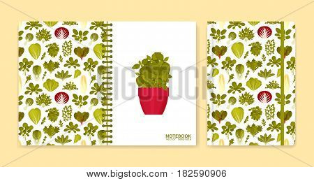 Cover design for notebooks or scrapbooks with green salads and vegetables. Vector illustration.