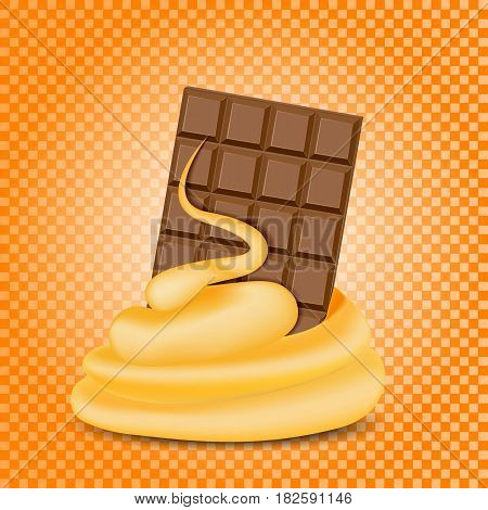 Chocolate and caramel mixed stream, orange background. Vector illustration.