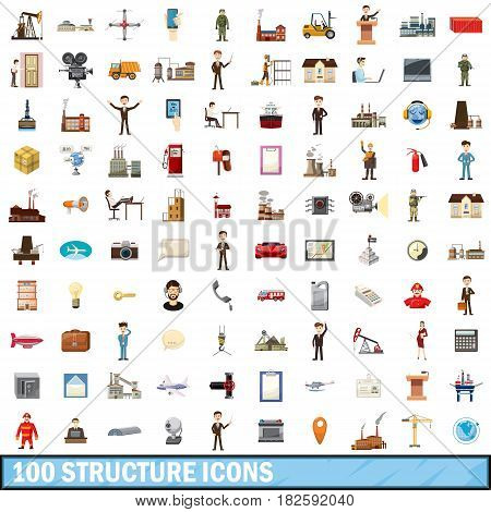 100 structure icons set in cartoon style for any design vector illustration
