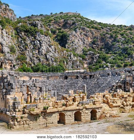 Ruins of Greco-Roman amphitheater in the city of Mira Turkey