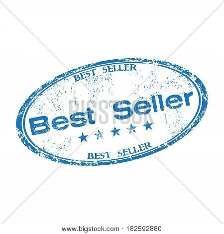 Blue grunge rubber oval stamp with the text best seller written inside the stamp