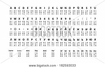 Large set of true size braille signs of latin and cyrillic alphabet include numbers punctuation and sounds isolated on white.