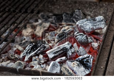 Charcoal burning coal in the grill fire Burning charcoal. Hot coals in the fire. The brazier of hot coals. Bright red hot charcoal.