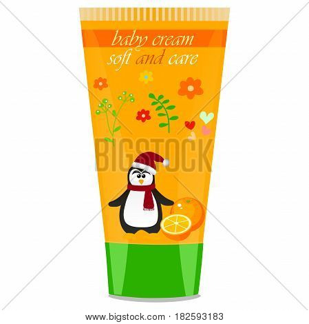 High quality original trendy vector Baby cream tube with kids design and pinguin, orange illustration