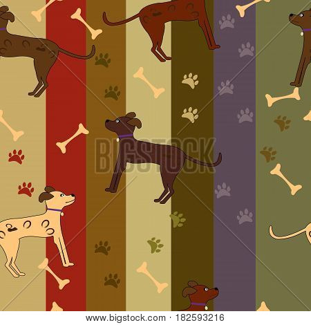 Seamless cartoon dog pattern; paws and bones