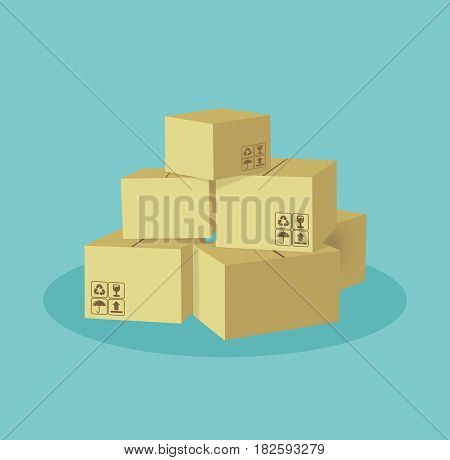 Cartoon boxes set. Cardboard box. Vector flat cartoon stock.