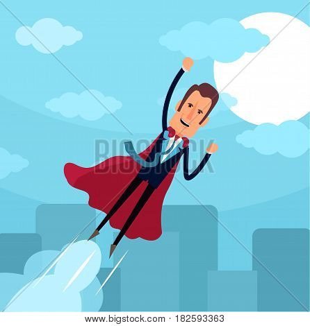 Business man with layer of superhero. Business man super hero. Business concept. Vector stock.