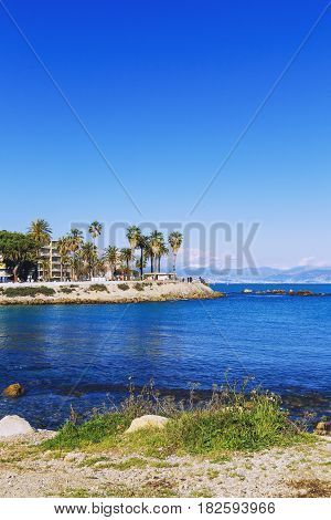 Seaside View Over The Mediterranean Coast From Antibes, France