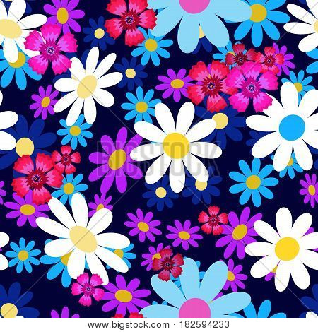 Seamless pattern with small and big white and blue daisies, pink carnation on a dark background. Wildflowers. Summer vector illustration.Print for fabric, textile, wrapping paper.