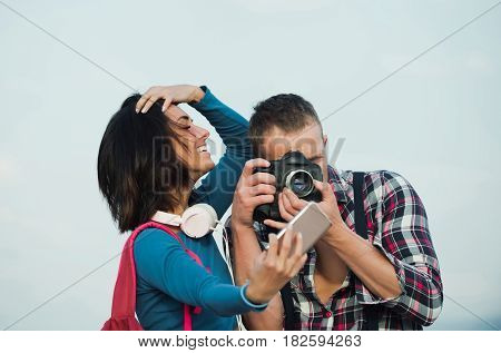 Smiling Girl Taking Selfie On Smartphone How Handsome Man Photographing