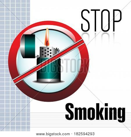 Colorful background with a lighter and the text stop smoking written with black letters