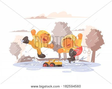 Happy children jumping in puddle under rain. Vector flat illustration