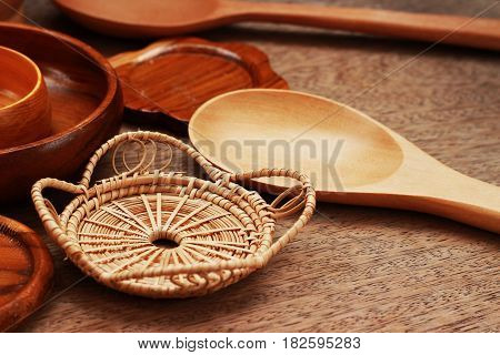Wooden containers are arranged on a brown background
