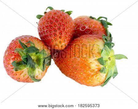 Fresh red strawberry On a white background The color of strawberry Show a nice feel. Details of strawberry