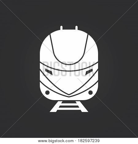 bullet train icon isolated on black background .