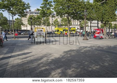 view on champs elysees, paris, france, july 15th,2016