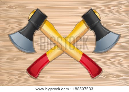Axes. Two crossed axes on a wooden background. Lumberjack axes crossed. Vector illustration