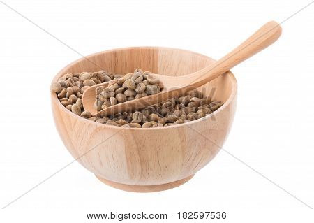 Green Arabica Coffee Beans In A Wooden Bowl Isolated On A White Background