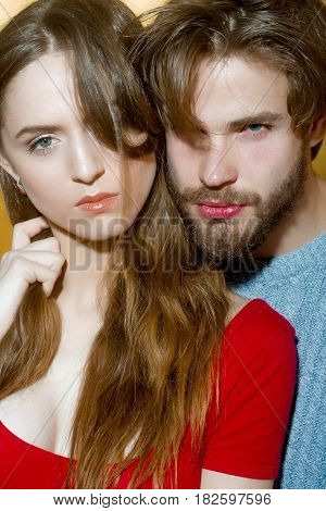 Young Couple Of Pretty Girl And Bearded Man