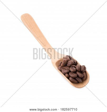 Arabica Coffee Beans In Wooden Spoon On White Background