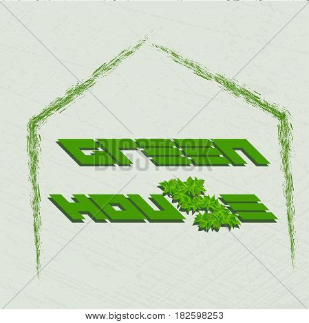 Vector illustration of the green house. Green house logo. For web design and application interface.