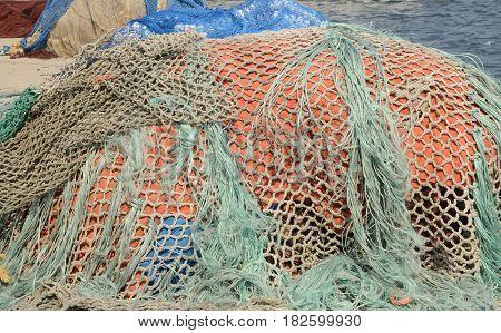Fishing net in the Port of Cangas de Morrazo Galicia Spain