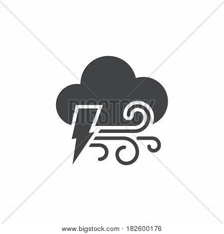 Lightning and wind icon isolated on white background .