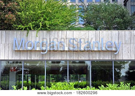 BUDAPEST HUNGARY - MAY 26: Morgan Stanley sign on facade of an office building in Budapest on May 26 2016. Morgan Stanley is an american company providing banking and investment management services.