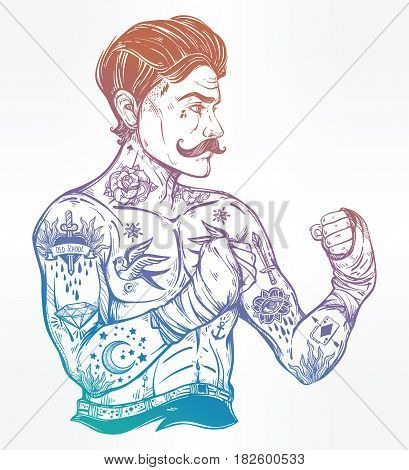 Hand drawn tattooed sailor boxer fighter, player in vintage style. Traditional flash tattoo style retro poster. Ideal for boxing club, training men fight brutal theme. Isolated vector illustration.