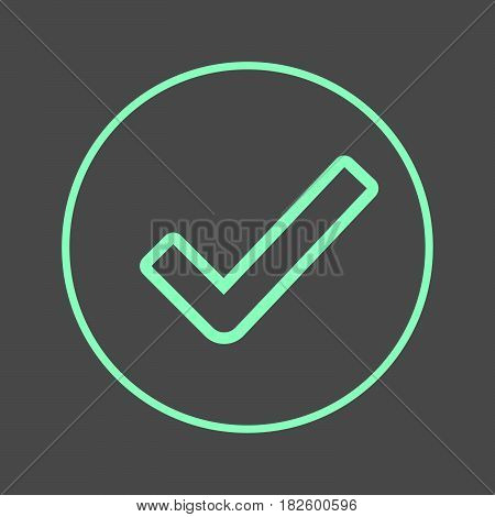 Check mark circular line icon. Approved round colorful sign. Flat style vector symbol
