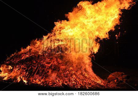 hot dangerous fire, flames, wood, disaster, fireman