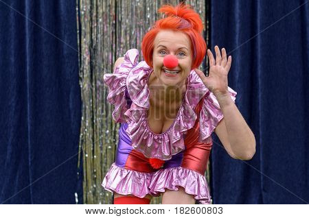 Cute Fun Redhead Performer In A Red Clowns Nose