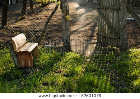 Wooden bench near the fence with an open wicket in the garden.