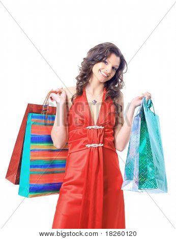Porträt einer jungen Frau, die halten mehrere shoppingbag