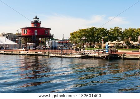 Seven Foot Knoll Lighthouse at the Baltimore Inner Harbor Maryland