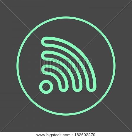 Wifi circular line icon. RSS feed round colorful sign. Flat style vector symbol